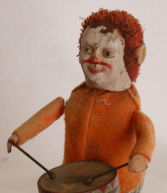 Vintage Schuco Tin Wind Up Clown