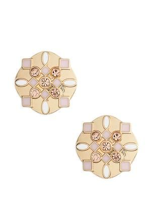 Cato Fashions Enamel Deco Button Earrings #CatoFashions #CatoSummerStyle