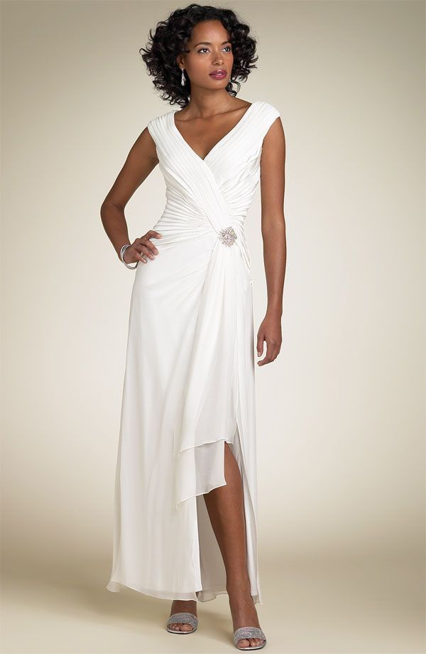 Simple informal v neck chiffon wedding dress for older for Wedding dresses for 60 year olds