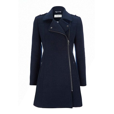 Wallis Petite navy faux wool biker coat- at Debenhams.com | Winter ...