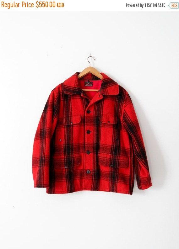 9725d5f40f969 vintage Johnson Woolen Mills mackinaw jacket, plaid wool field coat ...