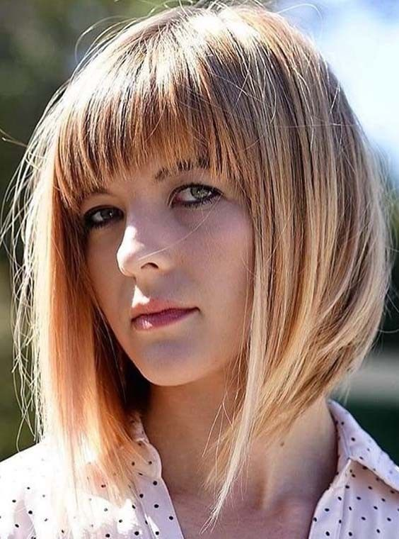 Best Ideas Of A Line Bob Haircuts With Front Bangs And Fringes For 2018 If You Are Search Bangs With Medium Hair Medium Hair Styles Hairstyles For Round Faces