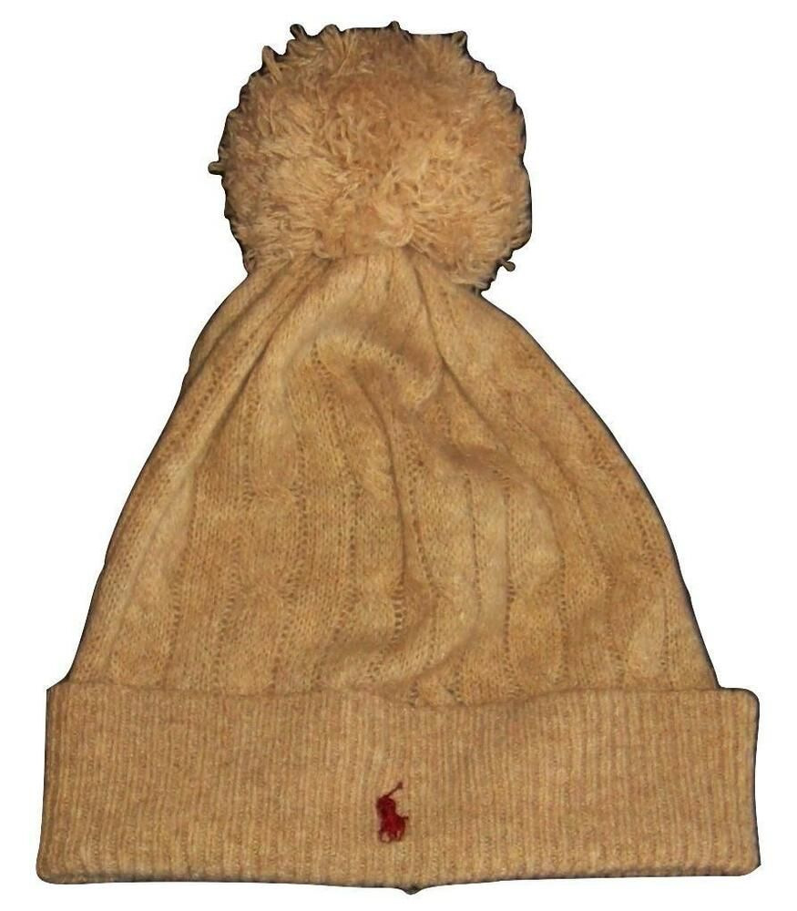 8645a268df1fb Ralph Lauren Polo Wool   Cashmere Beanie Cap Skully Tan Pom-Pom Pony Logo  NWOT  RalphLauren  Beanie