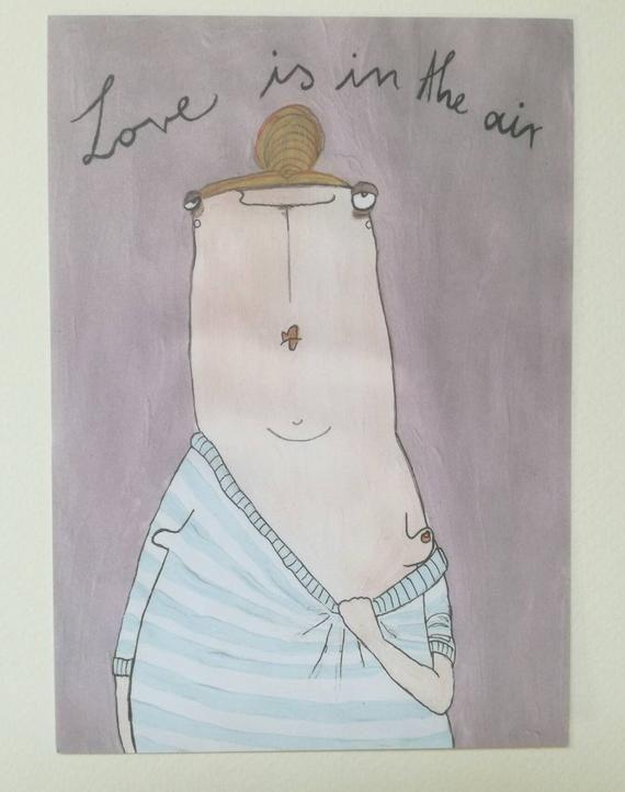 Postkarte, drei mal LOVE is in the AIR