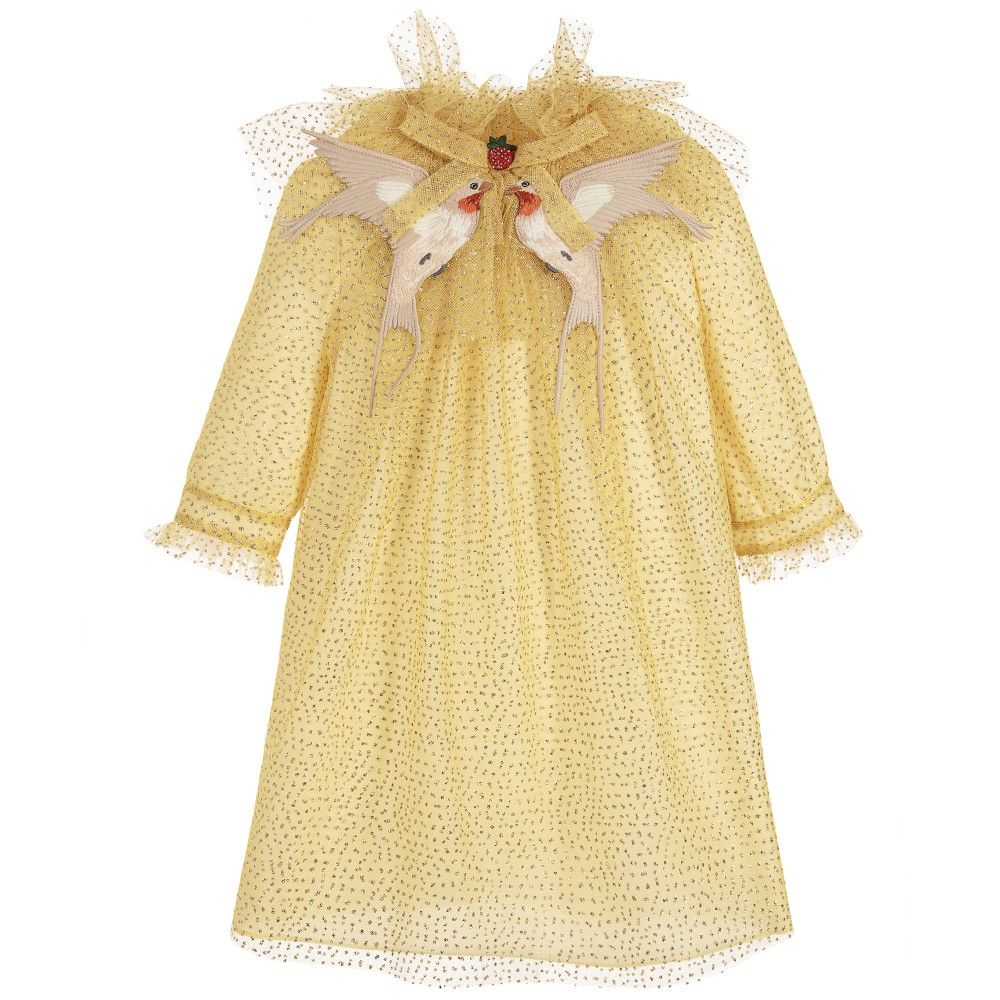 yellow u0026 gold glitter dress with embroidered collar gucci kids