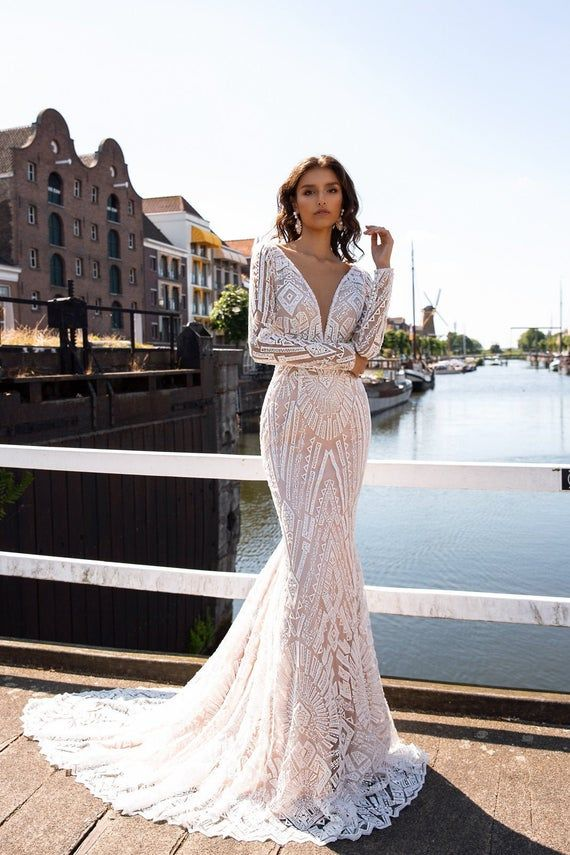 Mermaid wedding dress Bria, V-neck wedding dress, Long sleeve wedding dress, beaded Lace wedding dress, neck Open back wedding dress,
