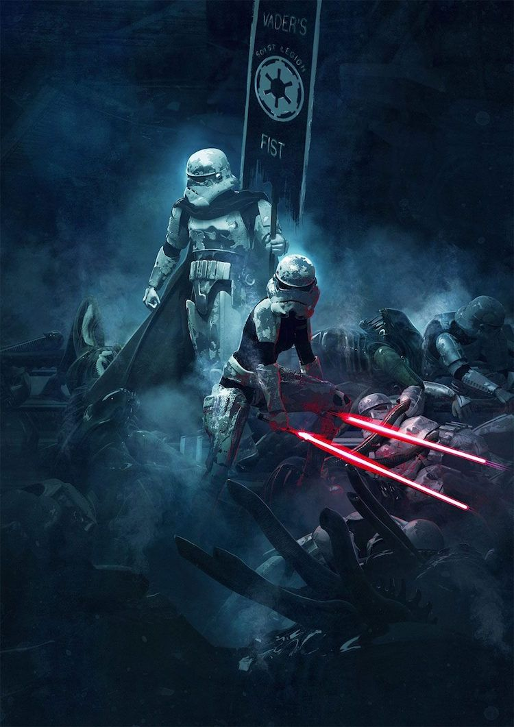 Cinematic Illustrations Reimagine Epic Movie Battles As Stormtroopers Vs Aliens Star Wars Wallpaper Star Wars Poster Star Wars Pictures