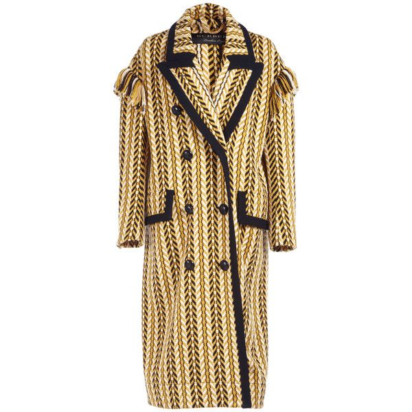 Burberry Fringe Jacquard Wool Coat ($3,695) ❤ liked on Polyvore featuring outerwear, coats, burberry, brown wool coat, woolen coat, burberry coat and wool coat