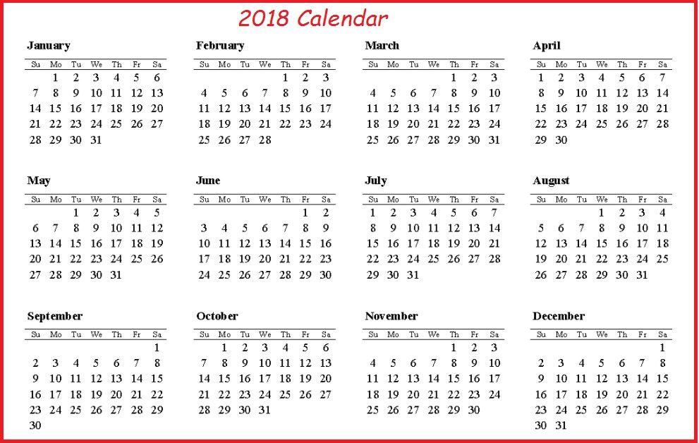 Printable 2018 Calendar On One Page 2018 Calendar Template News To