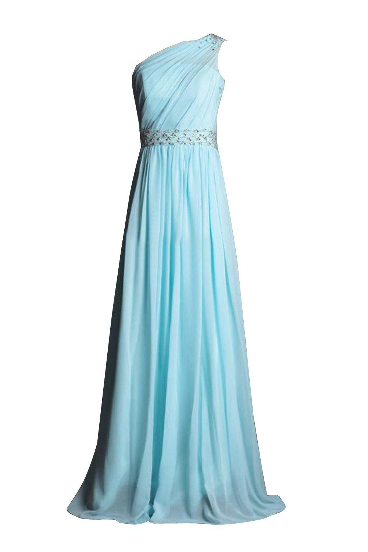 Gorgeous Bride Chiffon Ein-Schulter A-Linie Brautjungfernkleid Prom ...