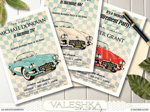 Retirement Party Invitation Vintage Corvette Beautiful Classic Car - Classic car invitations