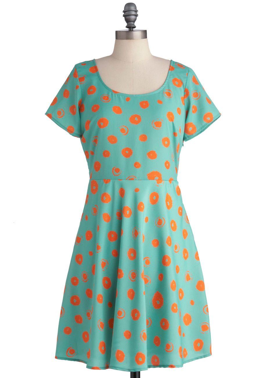 Dapples and Oranges Dress - Mid-length, Blue, Orange, Polka Dots, Casual, Sheath / Shift, Short Sleeves