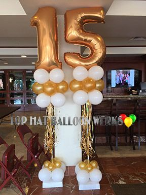 Balloon Tree Numbers In Gold And White Balloons Rose Gold Number Balloons Ballon Decorations