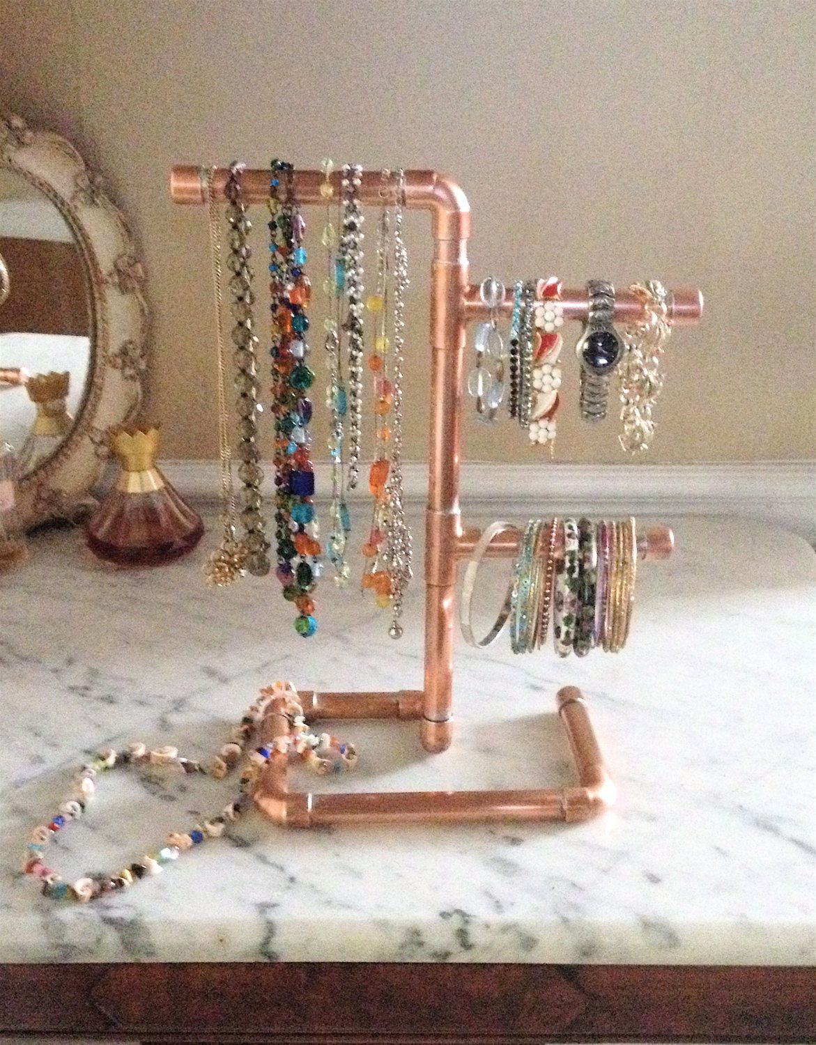 Copper Pipe Jewelry Tree Modern Jewelry Organizer Steampunk Design