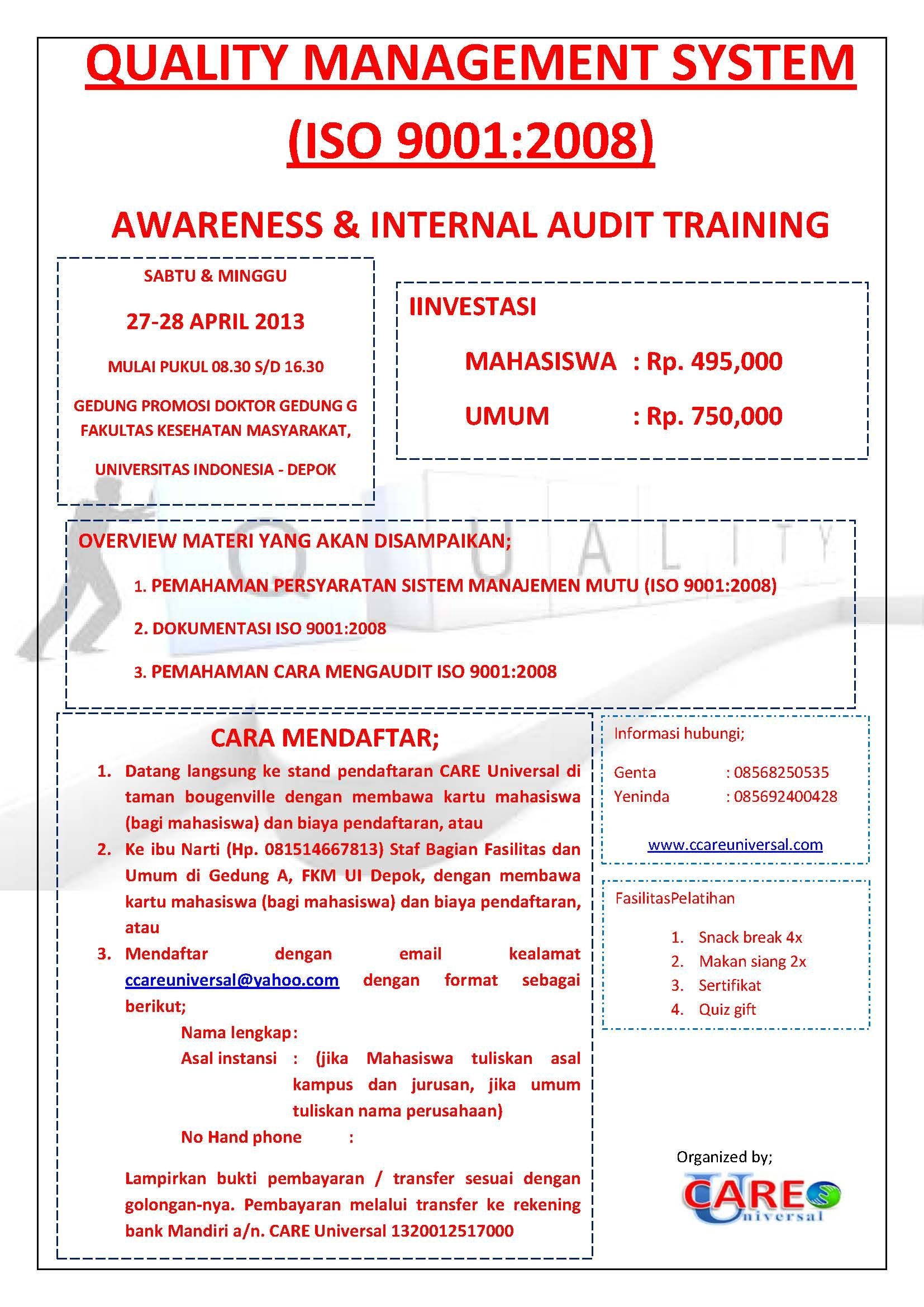 Yuuk ikut training ISO 9001:2008 dan Internal Audit