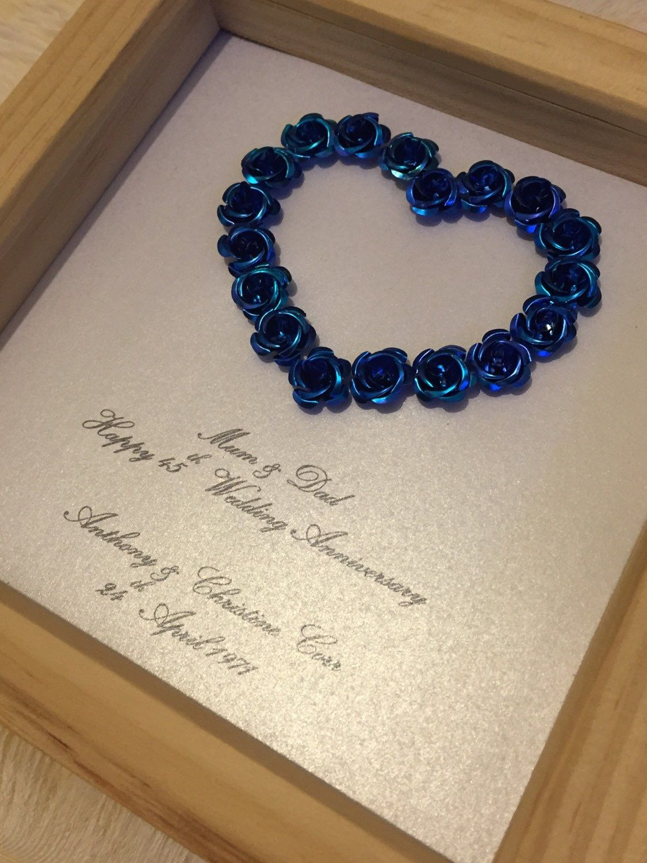 Handmade 45th Sapphire wedding anniversary framed gift