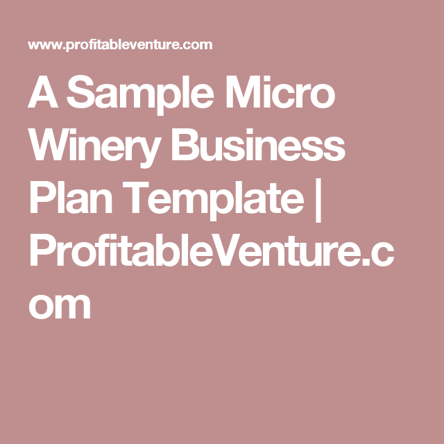 A Sample Micro Winery Business Plan Template ProfitableVenturecom