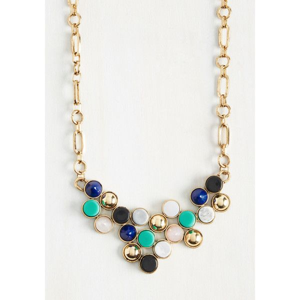 Statement Treasure Up to Expectations Necklace ($25) ❤ liked on Polyvore featuring jewelry, necklaces, statement necklace, golden necklace, multi color necklace, colorful necklace and multicolor statement necklace