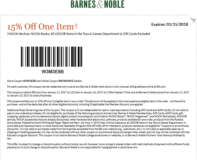 Pinned December 20th 25 Off A Single Item At Barnesnoble Or Online Via Promo Code Wishlist Thecouponsapp Shopping Coupons Coupons Barnes And Noble
