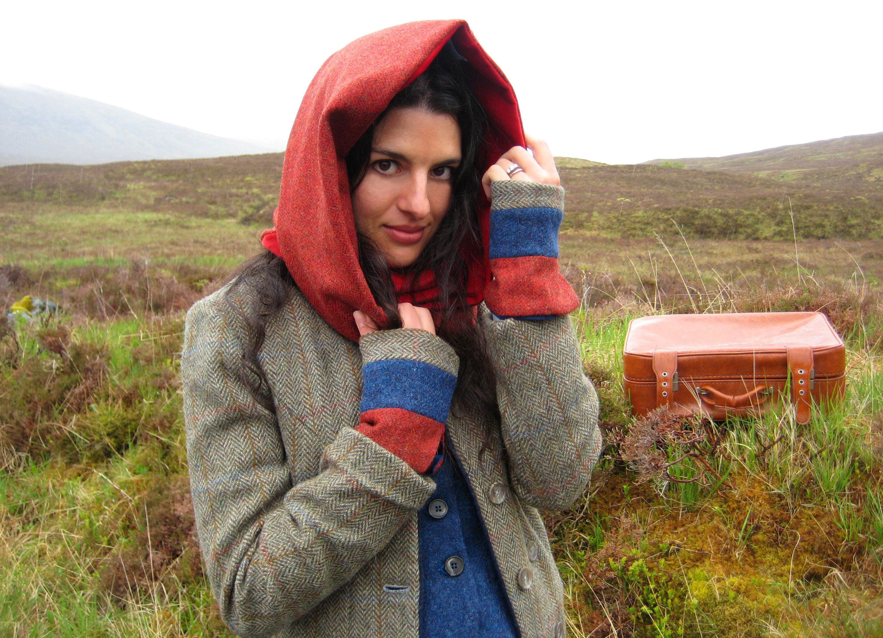 Snood and Mittens.  Tweed and velvet lined. Handmade in the Scottish Highlands. www.lornagillies.com Atmospheric, haunting, dreamer inspiration. Outlander. Scotland. Highlands. Glencoe