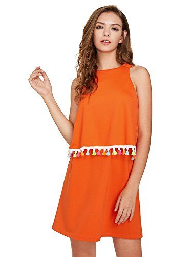 ROMWE Womens Round Neck Tassel Trim Sleeveless Mini A-line Dress Orange XS