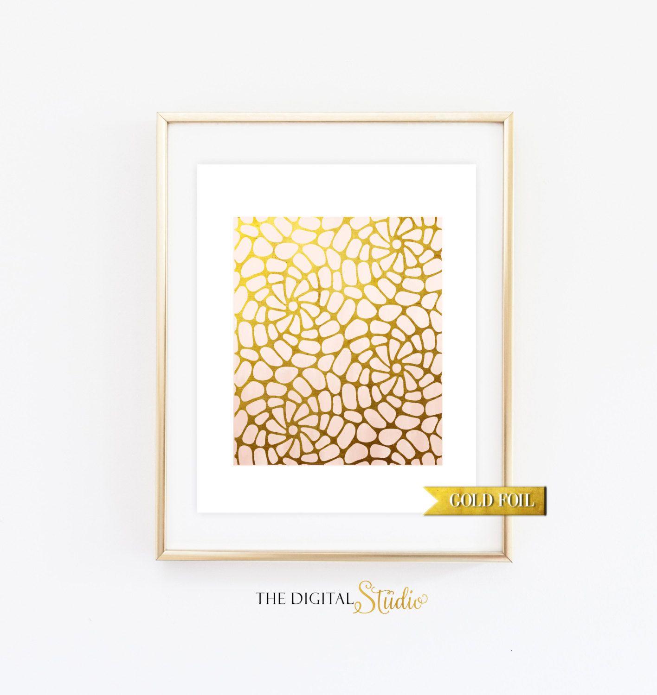 Pattern Print,Gold Foil Wall Art, Abstract Print,Modern Wall Art ...