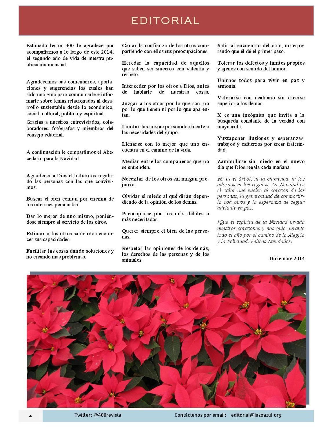 Editorial del número de Diciembre 2014 de la Revista 400 @400revista #DesarrolloSustentable Revista 400 publicación mensual digital