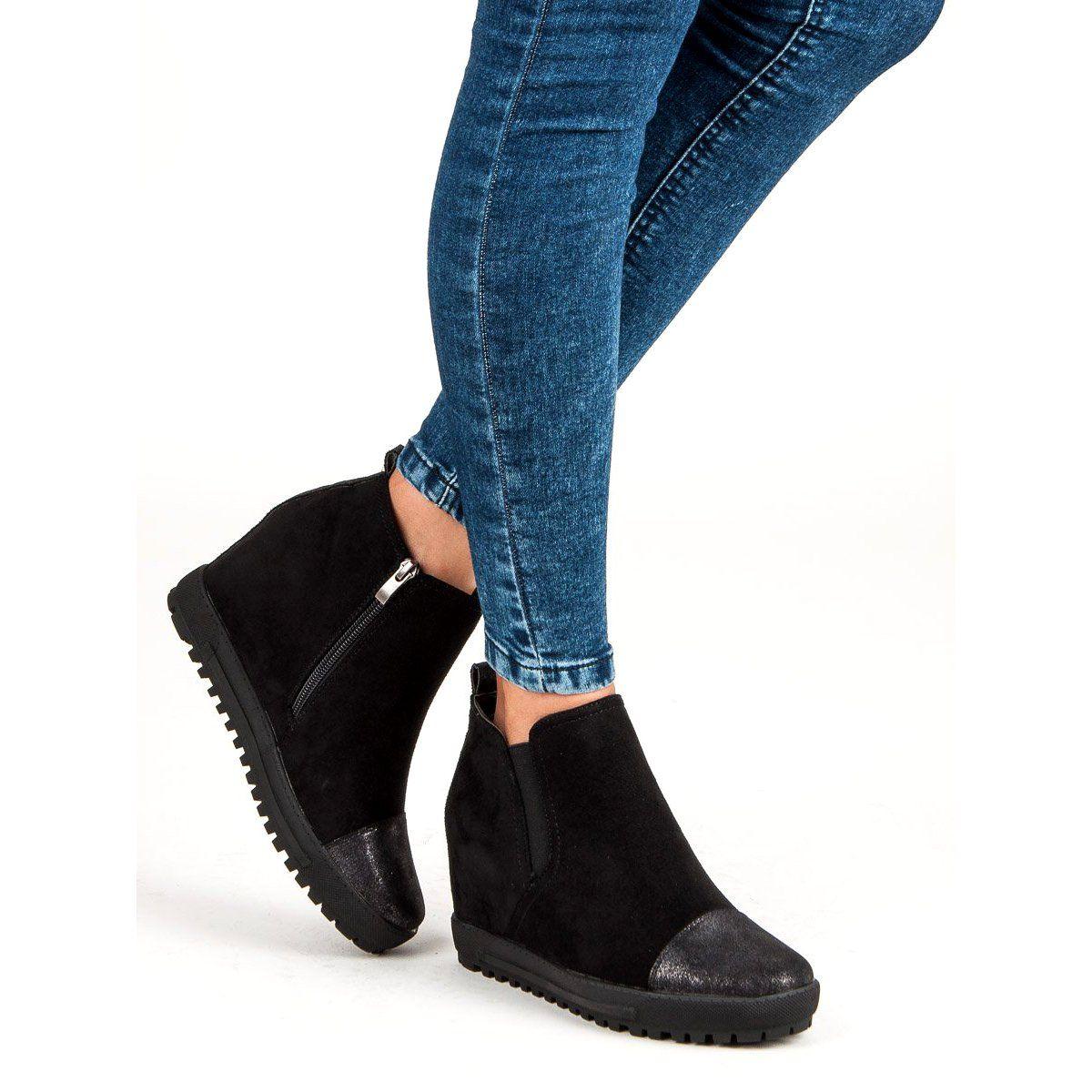 Filippo Zamszowe Botki Na Koturnie Czarne Ankle Boot Shoes Chelsea Boots