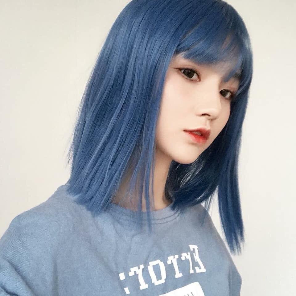 Pin By Stephanie On Dyed Hair Korean Hair Color Smokey Blue Hair Hair Color Asian