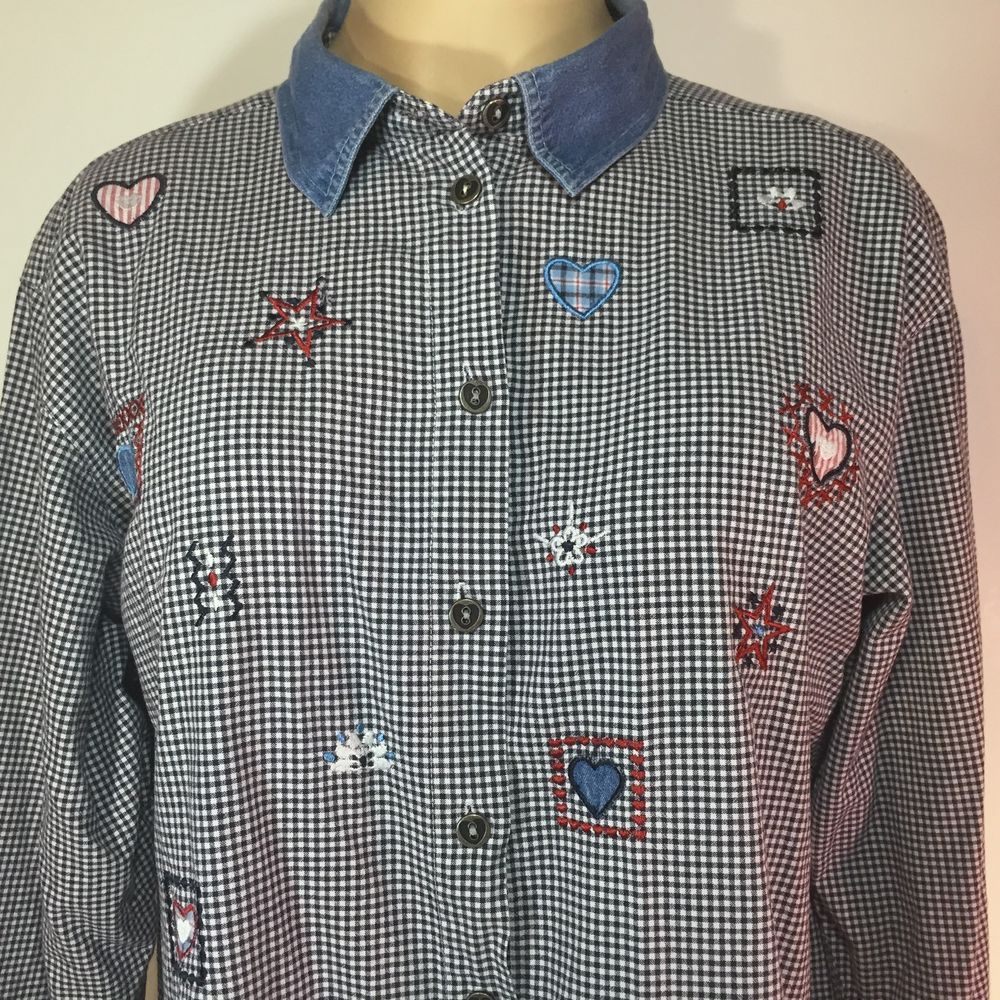 e39328376bd33c Womens Plus 2X Blue Check Shirt Embroidered Hearts Long Sleeve Cotton  Teacher