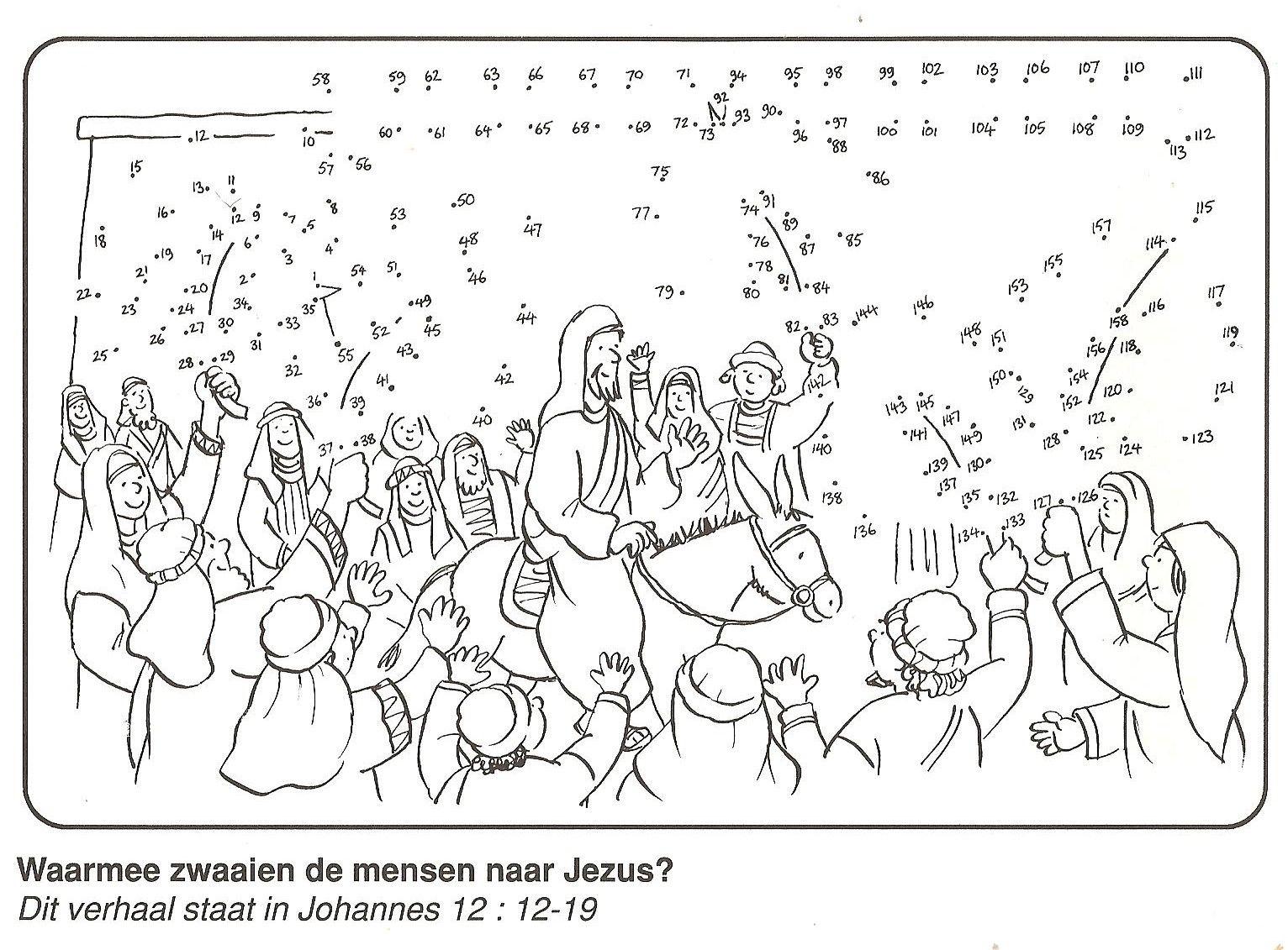Jezus Intocht In Jeruzalem Palmtakken Van Stip Naar Stip