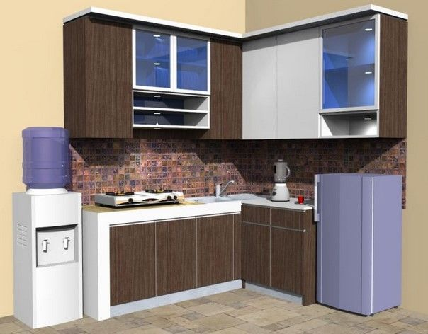 model kitchen set l mini untuk dapur mungil 8 dinding warna krem rh pinterest com