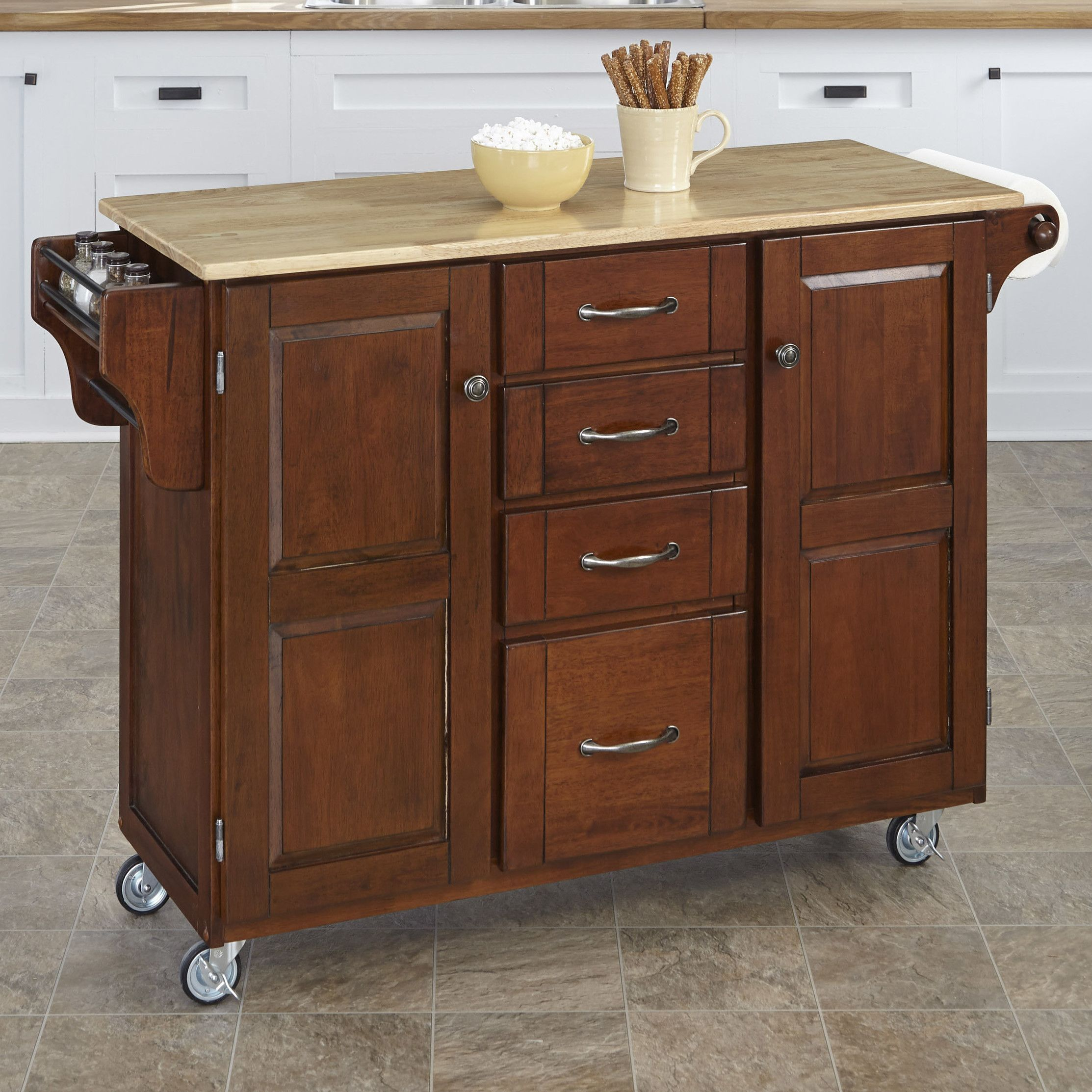 August Grove Adelle Cart Kitchen Island With Butcher Block Top Simple Rustic Kitchen Cart 2018