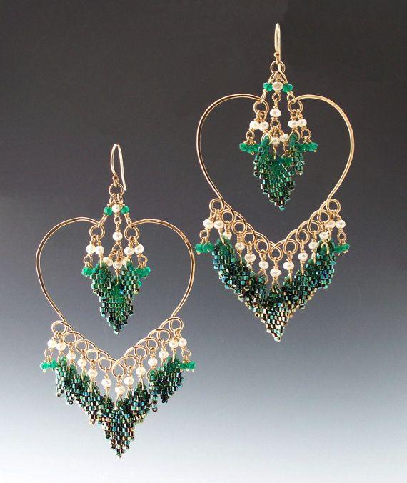 Peyote cucita Moghul cuore orecchini con perla di di mikelle77