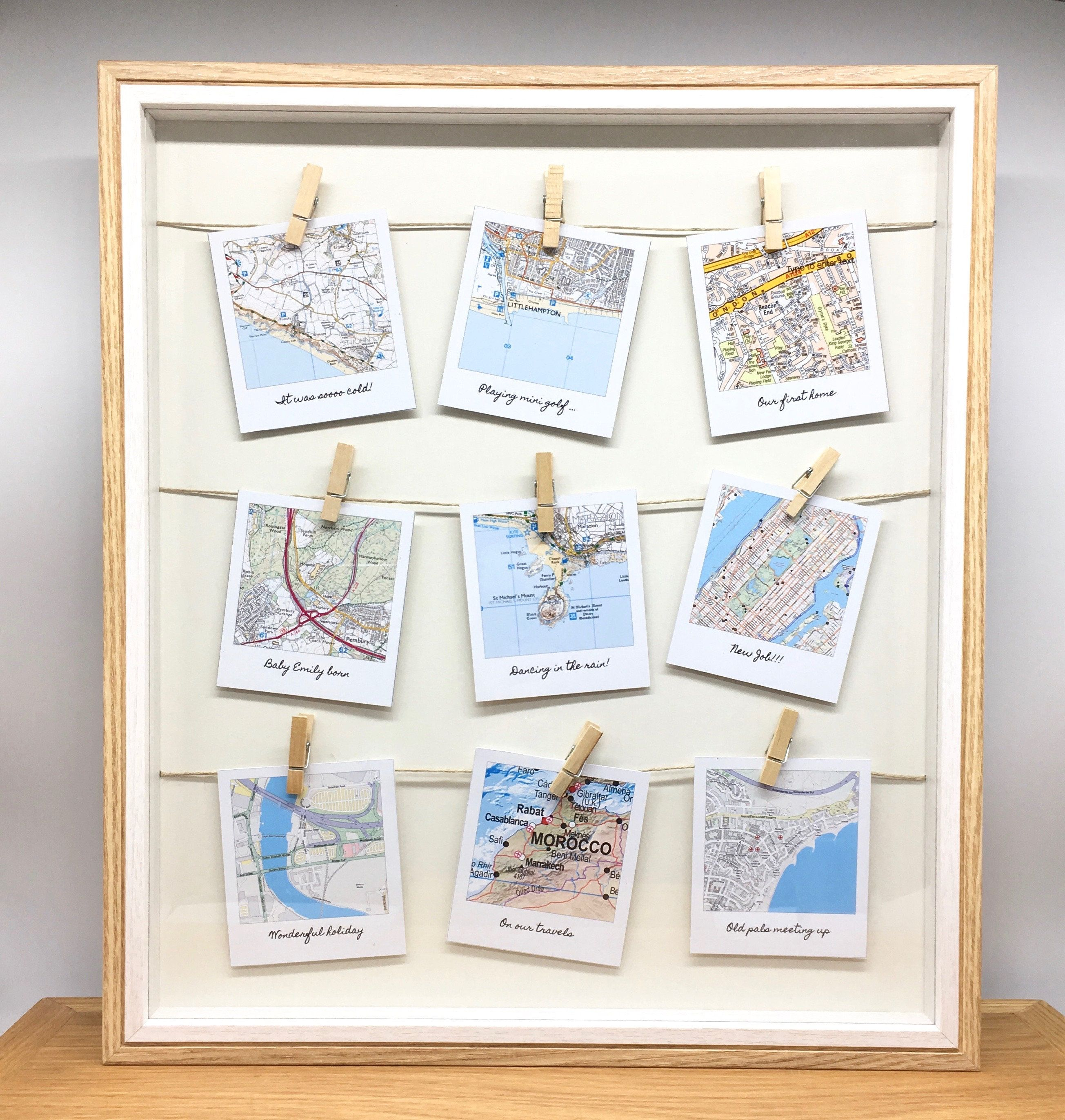 Personalised Anniversary Or Wedding Gift Map Location Gift Retro Snapshot Style Wooden Peg Frame By Mapmojo On Et Location Gifts Map Crafts Anniversary Diy