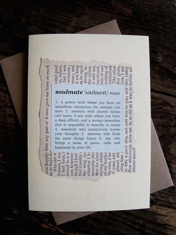 Soulmate definition 1st anniversary birthday card paper dictionary soulmate 1st anniversary card paper dictionary style definition on vintage book page first anniversary soulmate m4hsunfo