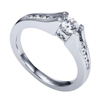 14k White Gold Diamond Straight Engagement Ring by Gabriel & Co RFJER93704W44JJ.CSD4