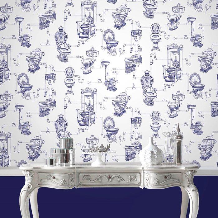 . Loo Loo Bathroom Wallpaper   Blue Graphic Wallpaper by Graham Brown