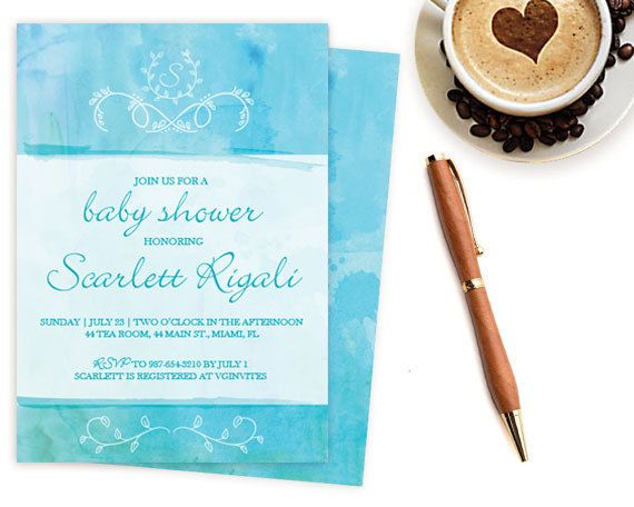Baby Shower Invitations For Word Templates Beauteous Diy Baby Shower Invitation ~ Editable Ms Word Template Watercolor .