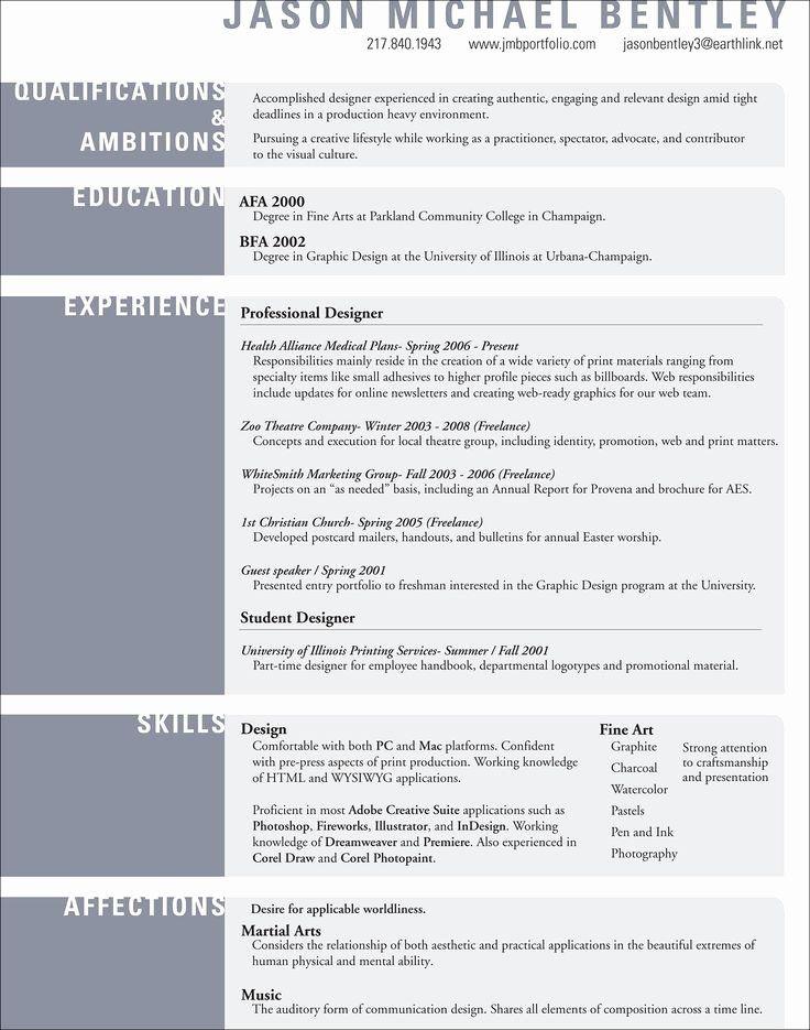 25 Fine Artist Resume Template in 2020 Resume design