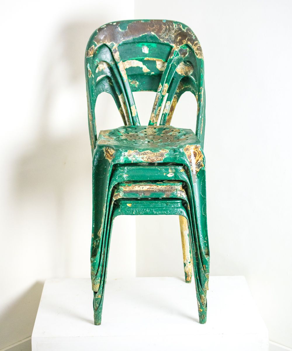 french metal industrial cafe chairs vintage france design green