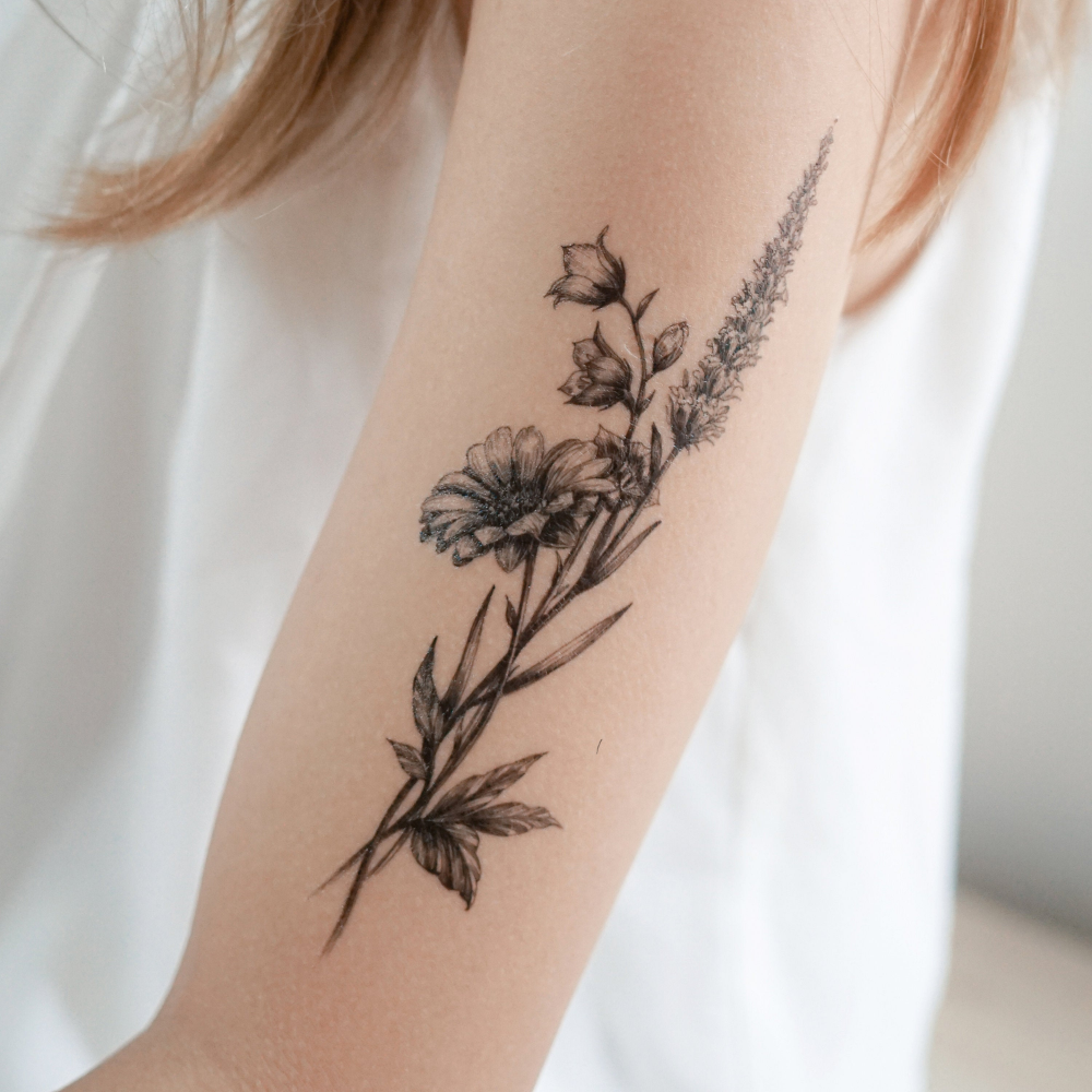 Minimal Flower tattoo Floral Tattoo Tatouage Temporaire