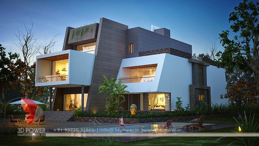 House · Night View Of 3D Modern Contemporary Bungalow
