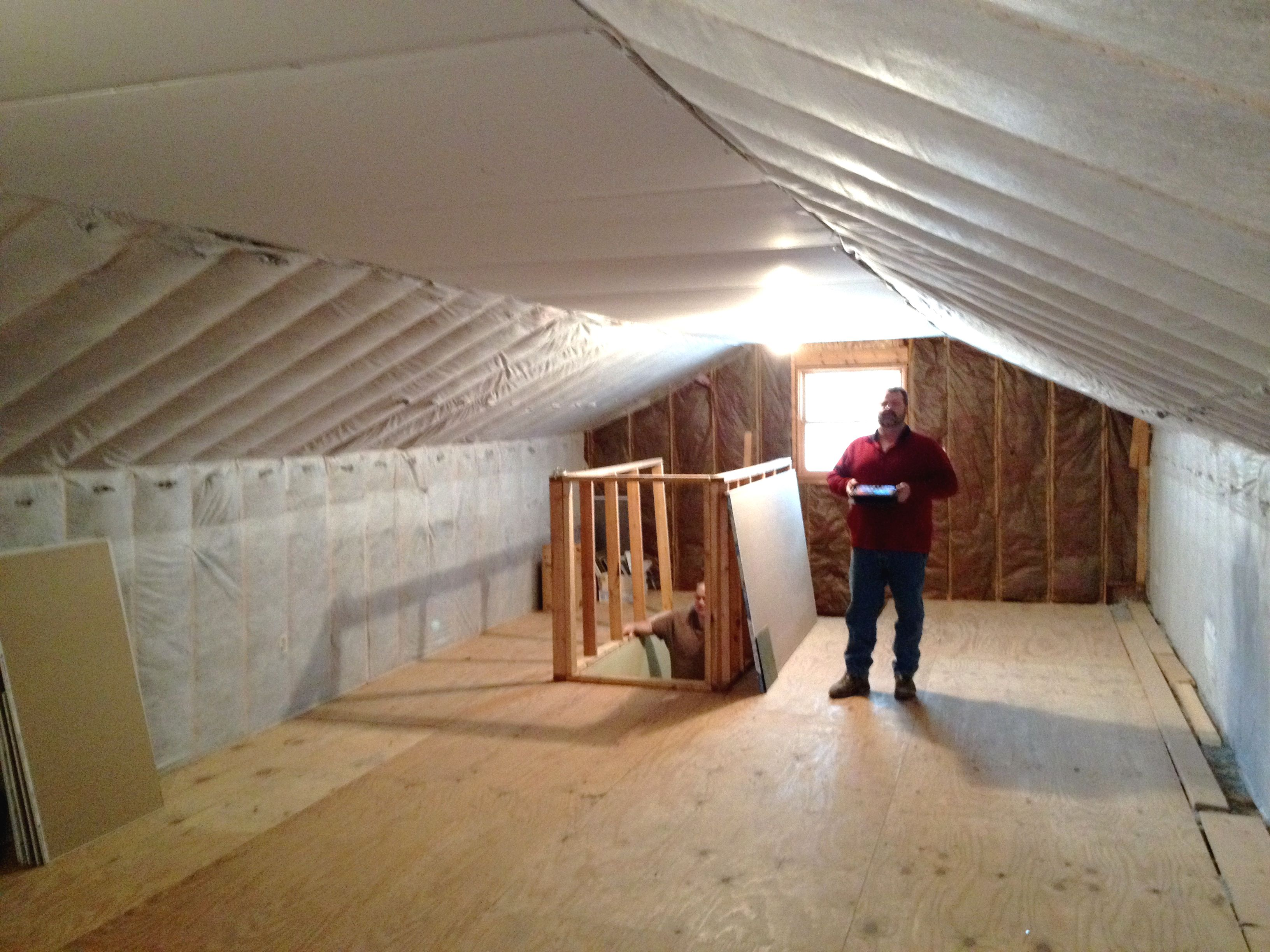 Ceiling And Knee Walls Insulated And In Attic Attic Insulation Knee Wall Attic Renovation