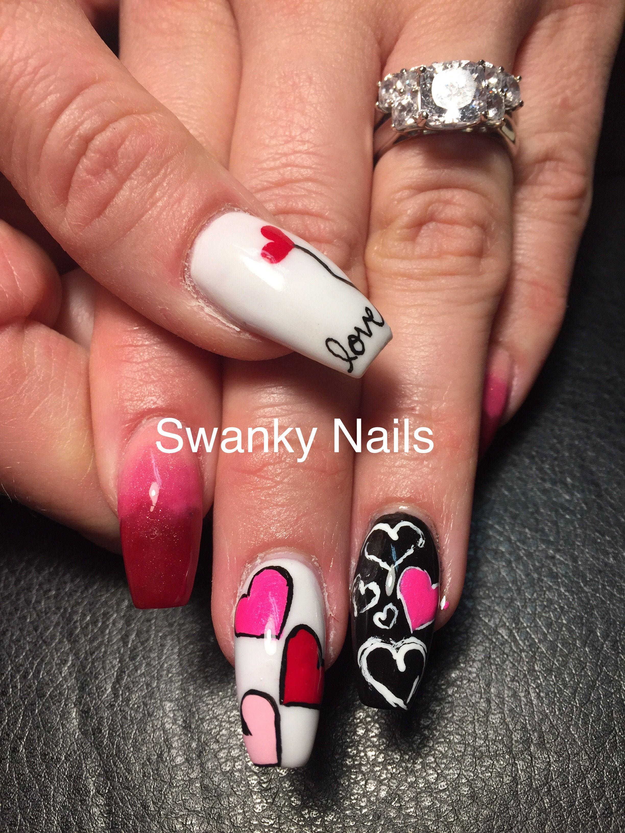 Valentine Nail Art Heartbailart Lovenailart Swankynails Sparkl