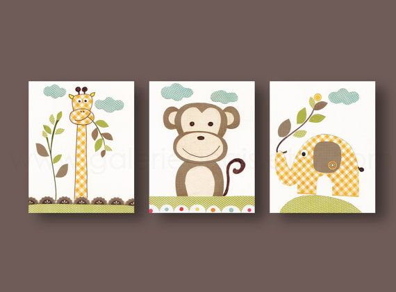 jungle nursery wall art monkey nursery art elephant nursery kids room decor giraffe nursery set of 3 prints old buddies - Monkey Bedroom Decor