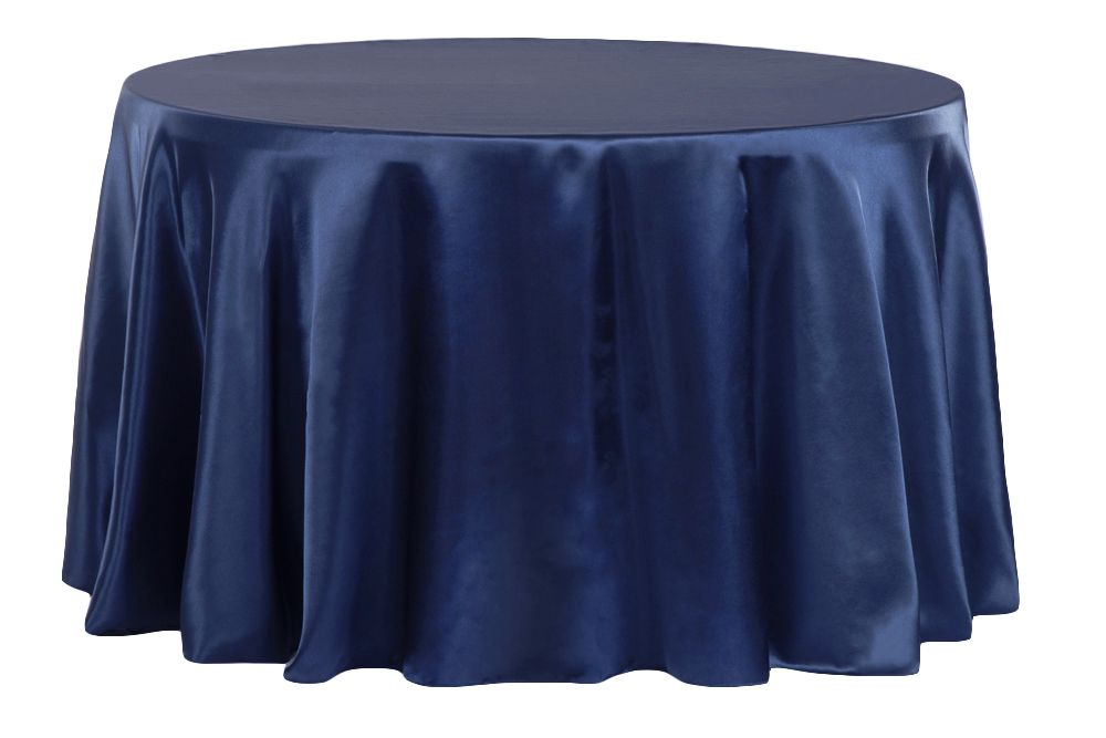Satin 120 Round Tablecloth Navy Blue 120 Round Tablecloth