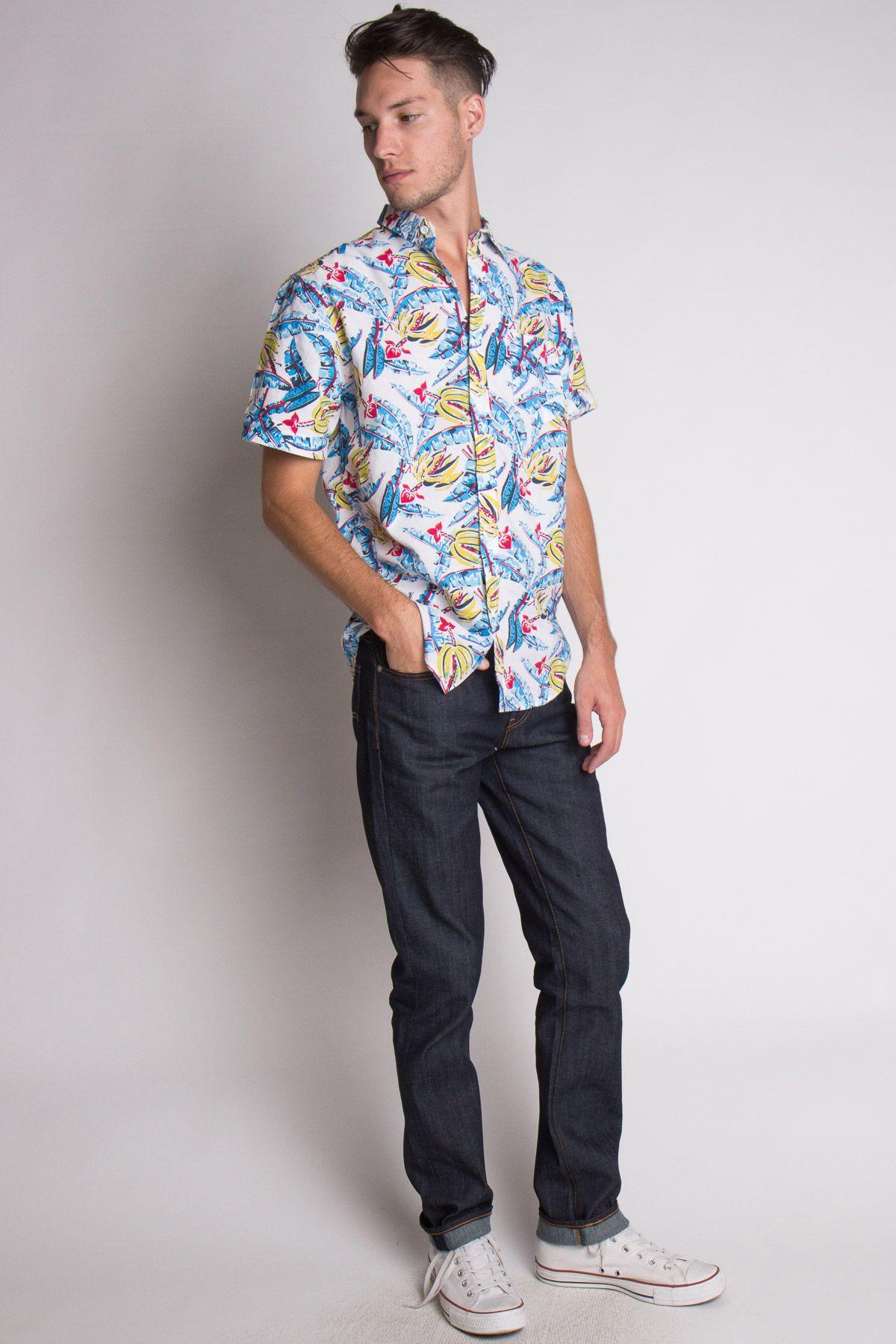 Flannel shirt and shorts men  Banana Tree Printed Woven Shirt    Menus Button up Shirts