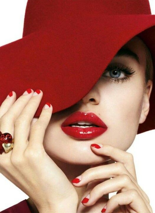 Red Fashion Photography Hat Red Lips Scandalous Red Hats