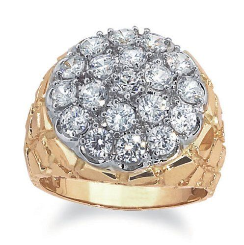 Men S 10k Two Tone Gold With Nugget Side Accent Diamond